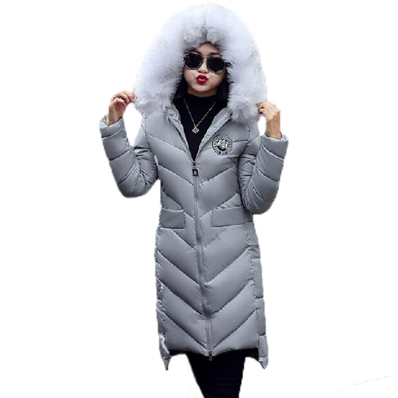 ФОТО New 2017 Winter Jacket Women Long Slim PU Leather Cotton Padded Coat Fur Collar Hooded Thick Overcoat Patch Design PW0353