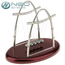 NEO Newtons Cradle Art in Motion Red Plastic Base Balance Ball Physics Pendulum Science Wave Educational Toy Desk Office Decor