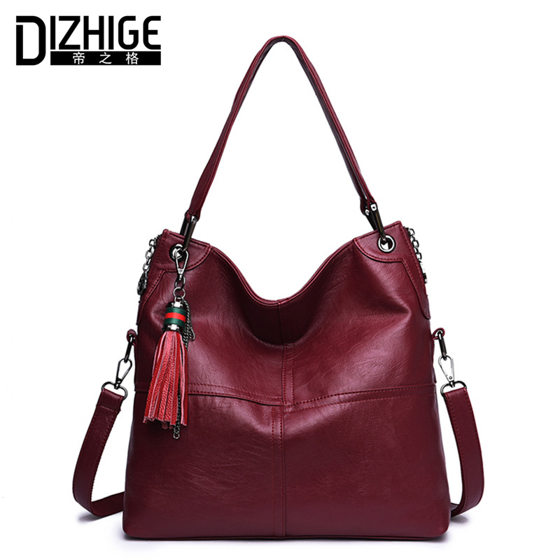 DIZHIGE Brand Tassel Genuine Leather Bags For Women Luxury Handbags Women Bags Designer Cowhide Shoulder Bag Ladies 2018 New Sac ladies genuine leather handbag 2018 luxury handbags women bags designer new leather handbags smile bag shoulder bag