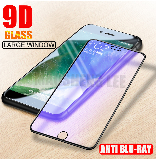 New 9D Anti Blu-ray Tempered Glass For iPhone 6 6S 7 8 Plus Screen Protector Full Cover 9H Glass For iphone 6s 7 8 glass film