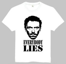 Adult American Drama House M.D. T-Shirt Summer Short Sleeve White House Hugh Laurie Top Tees Shirt Everybody Lies