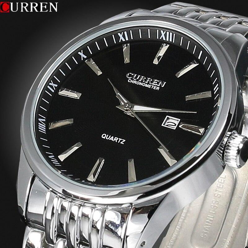 Prix pour Mens montres Top marque de luxe Curren hommes complet en acier inoxydable analogique Date Quartz Casual montres-bracelets Relogio Masculino
