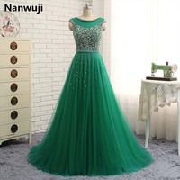 In Stock Women Long Hunter Green Evening Dress 2016 Sexy Tank Sleeveless Lace Tulle Beadings And