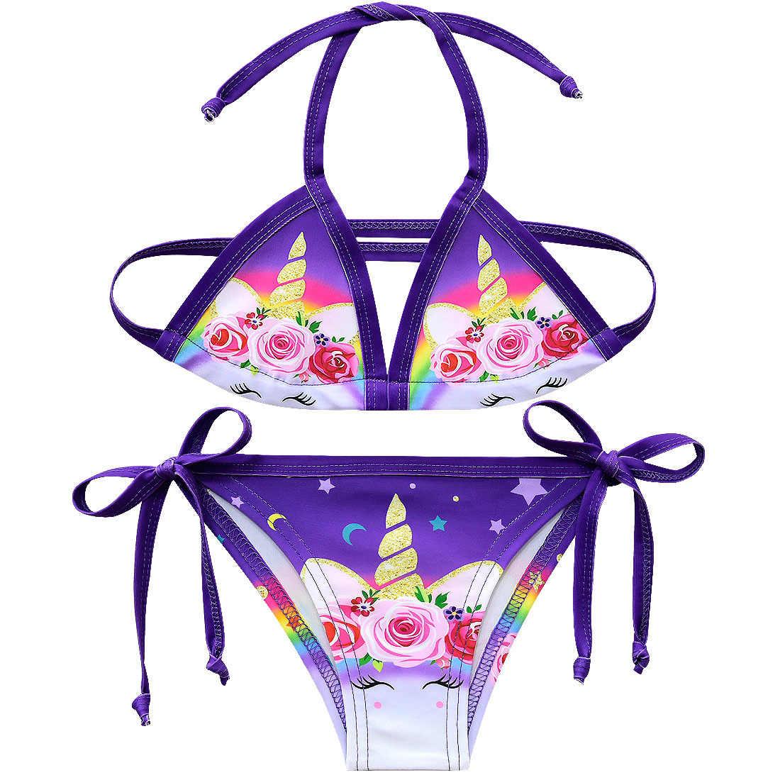 Новый 2019 Единорог женский купальник-бикини повязка на голову, летний купальный костюм для девочек, платье в виде единорога, День рождения детский костюм От 2 до 12 лет