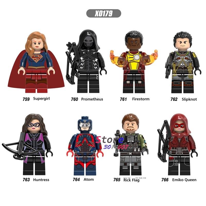 50pcs Super Hero  Prometheus Slipknot Supergirl Huntress Rick Flag Emiko Queen Atom building block for children toys-in Blocks from Toys & Hobbies    1