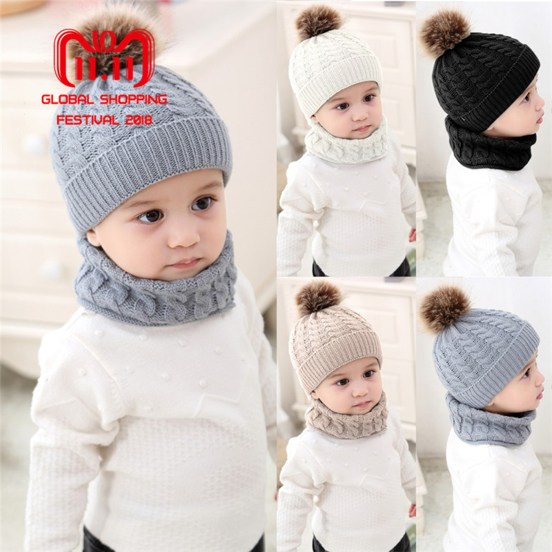 Puseky 2pcs/set Fashion Newborn Baby Hats Knitted Warm Pom Round Machine Cap Protects Ear Bonnet Baby Winter Caps + Scarf Suits rosicil consumer cap knitted scarf