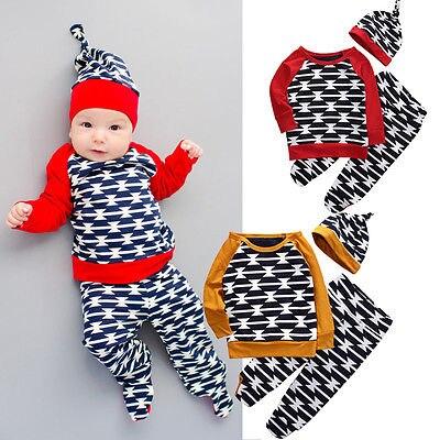 3PCS Newborn Baby Girl Boy Cotton Tops T shirt Pants Hat Set Clothes Outfits
