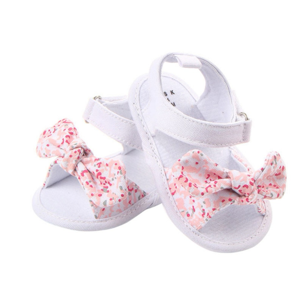 Toddler Newborn Baby Crib Shoes Bow Embroidery Princess Baby Soft Sole Anti-Slip Prewalker For Baby Girls