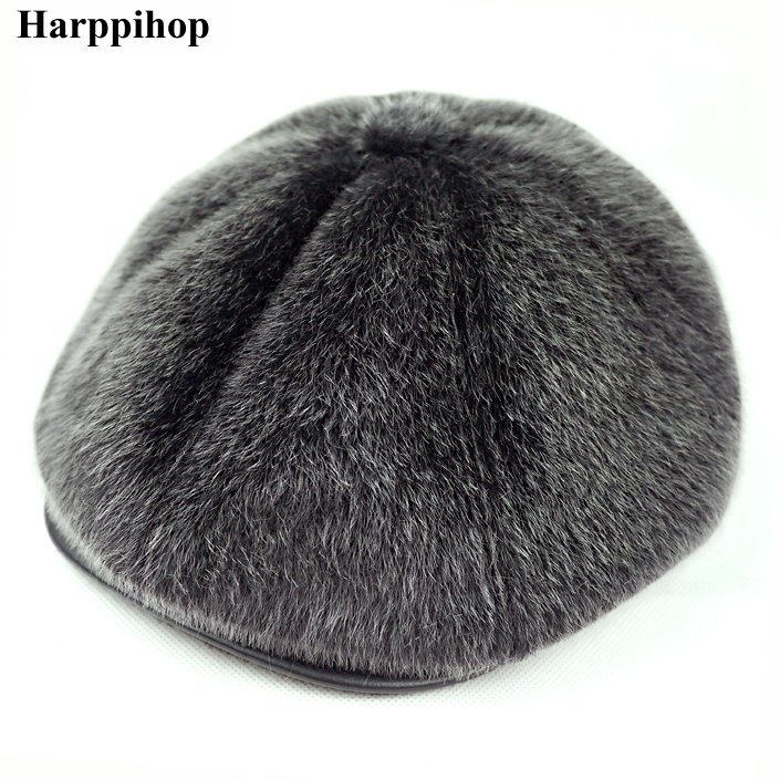454bf0c2a2f HARPPIHOP FUR 2017 male mink hair winter octagonal cap hat thermal cotton  padded ear forward cap-in Skullies   Beanies from Men s Clothing    Accessories on ...