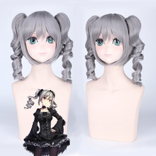Idolmaster Cinderella Girls Ranko Kanzaki 40cm Medium Long Grey Cosplay Wig for Women Anime Costume Party with Two Wavy Ponytai недорого
