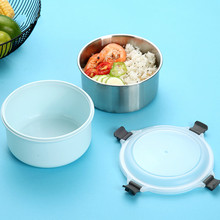 Food Container Stainless Steel Lunch Box for Kids School Leakproof Bento with Plastic Shell