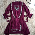 2PC Burgundy Women Satin Nightgown Robe Set Sexy Lace Strap Dress+Robe Sleepwear Two Pieces Female Nightwear Night Dress 011911