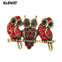 Three Cute Red Rhinestone Owl Animal Brooch Girls Vintage Jewelry Bird Branch Pins and Brooches for Women Friendship