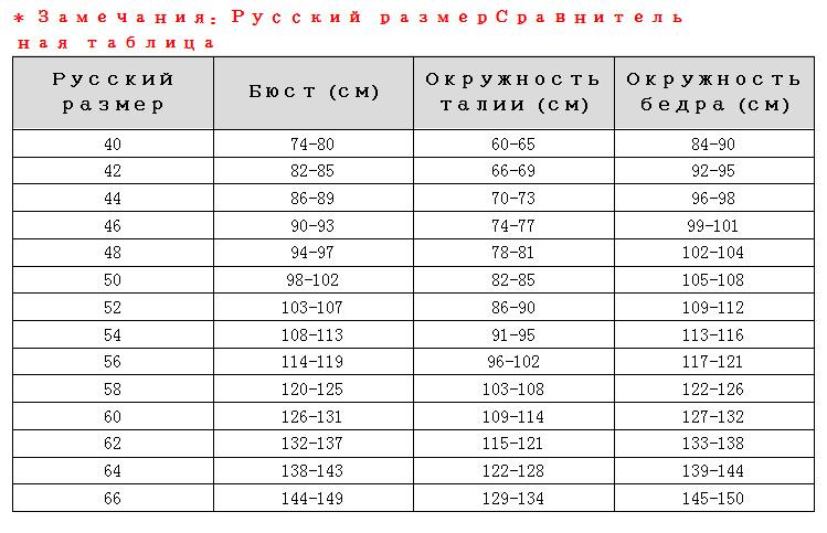 俄罗斯尺码参考表