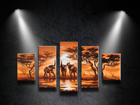 Hot Tree Oil Painting 5pcs/Set On Canvas Animal elephant Landscape Modern Wall Picture For Living Room Abstract Decoration