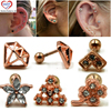 Showlove-PAIR Rose Gold New Degsin Ear Studs Cartilage Earrings Tragus Helix Piercing 16 Gauges Ear Studs Lip Rings Jewelry