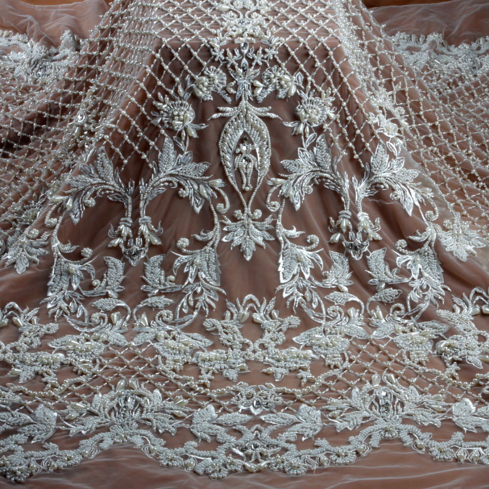 New fashion style off white gray heavy handmade beads on netting embroidered wedding dress evening dress