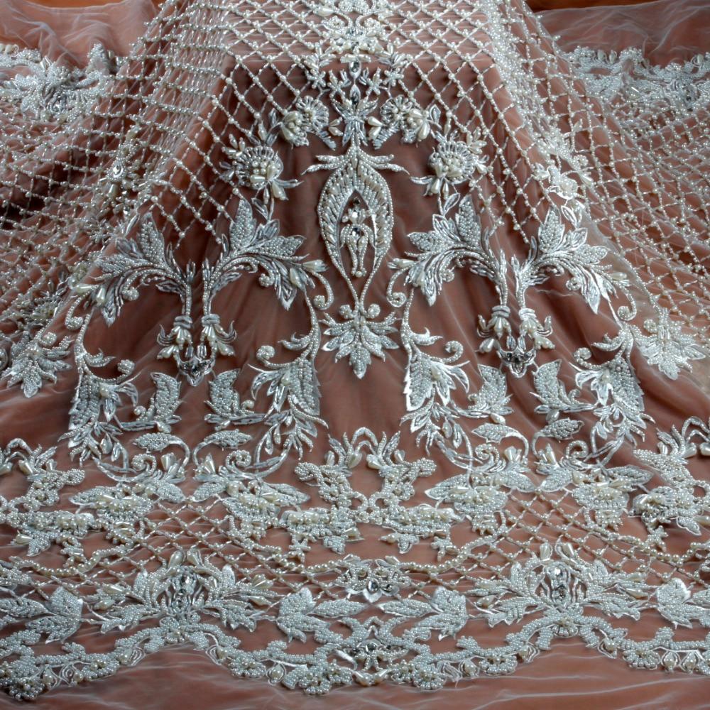새로운 패션 스타일 오프 화이트/그레이 무거운 수제 비즈 그물에 수 놓은 웨딩 드레스/야드에 의해 이브닝 드레스 레이스 원단-에서레이스부터 홈 & 가든 의  그룹 1