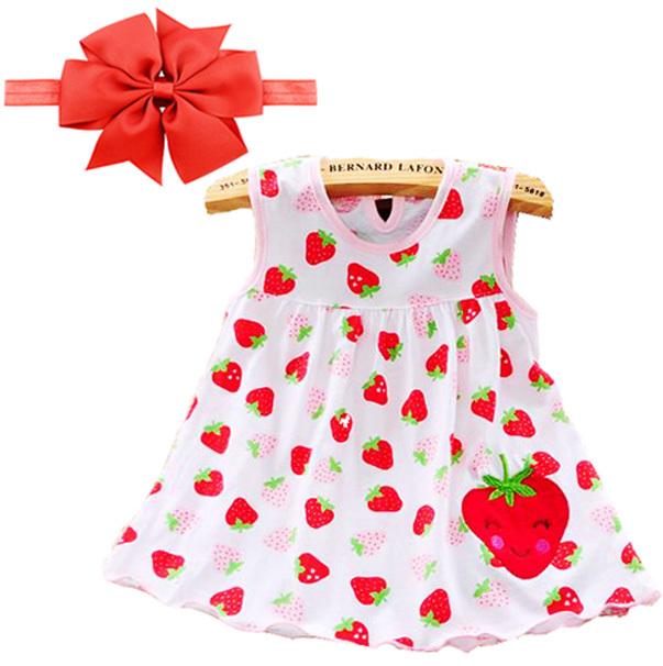Girls Print Big Bow Tie Princess Dress