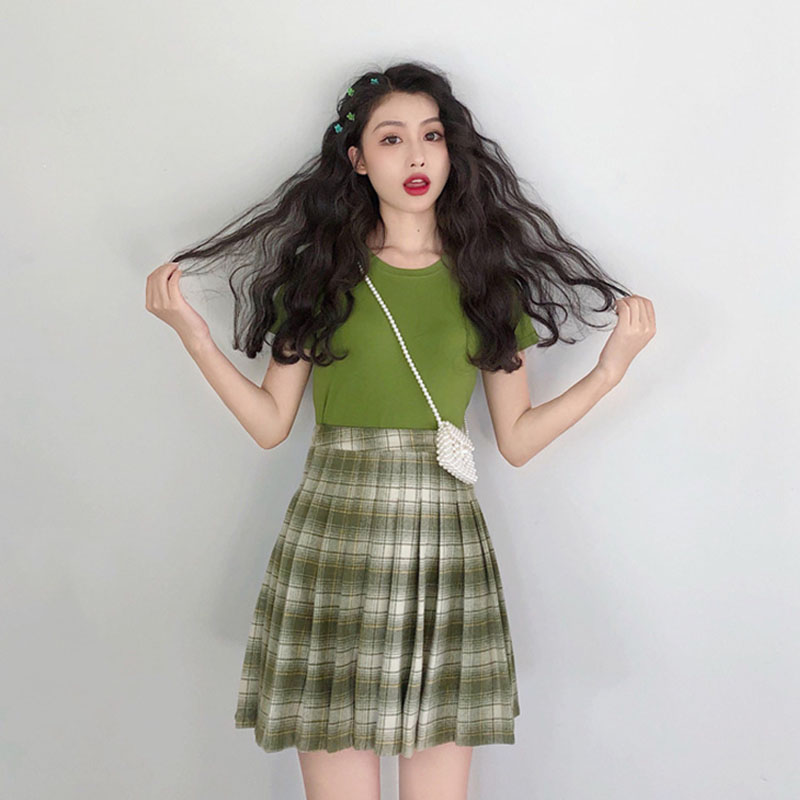 Ladies Skirt Set Outfits 2019 Summer Clothes For Women Two Piece Sets Women Short Sleeve T shirt Top Plaid Skirt Green Tracksuit