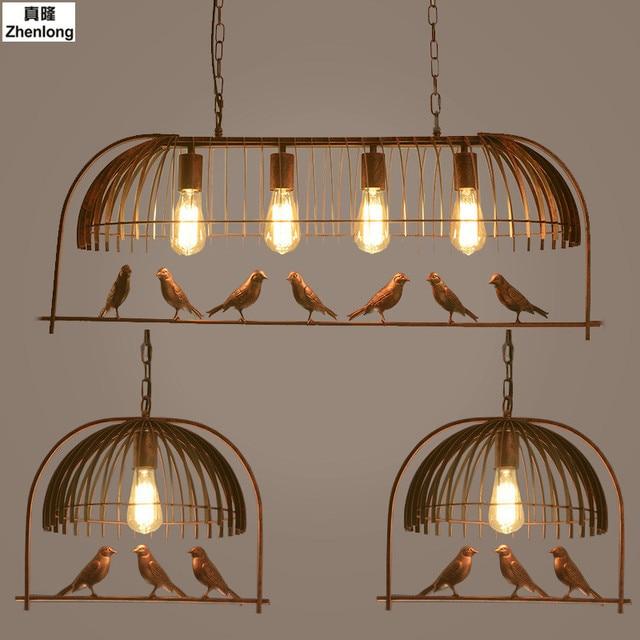 Creative Bird Cage Restaurant Iron Birds Pendant Lights Vintage Lamp ...