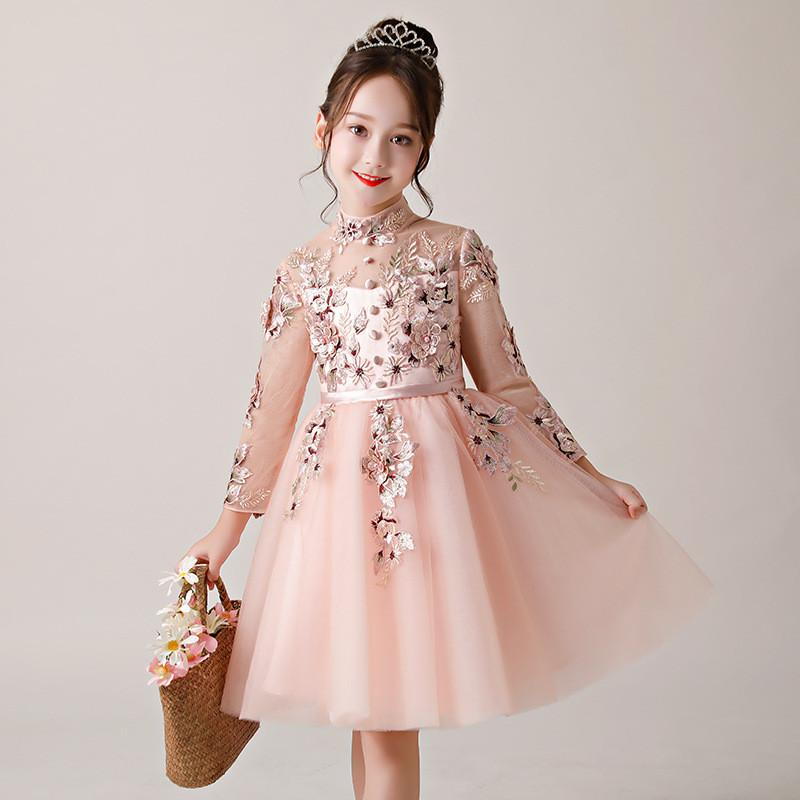 2019 enfants fille élégante dentelle maille princesse robe bébé fille broderie fleur mariage fête Vestido enfants perles robe de bal Q669