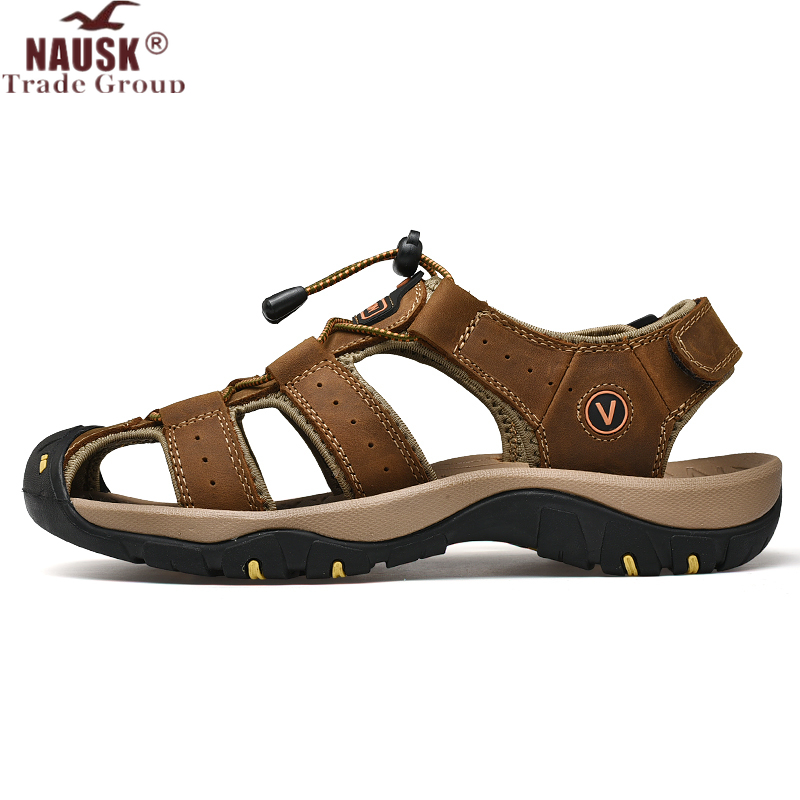 NAUSK Men Sandals Shoes Outdoor Summer Sneakers Genuine-Leather Casual Fashion New Man