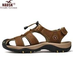 Nausk novo masculino sapatos de couro genuíno dos homens sandálias de verão homens sandálias de praia homem moda ao ar livre tênis casuais tamanho 48
