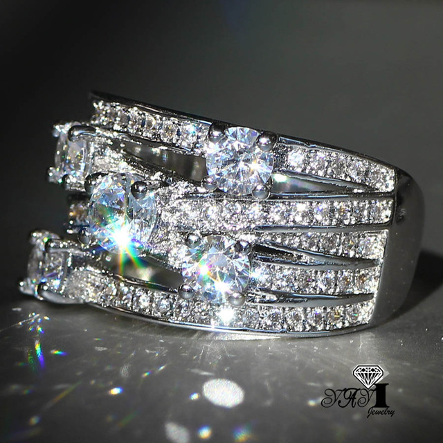 YaYI Jewelry Fashion  Princess Cut 3.9CT White Zircon Silver Color Engagement Rings wedding Rings Party Rings
