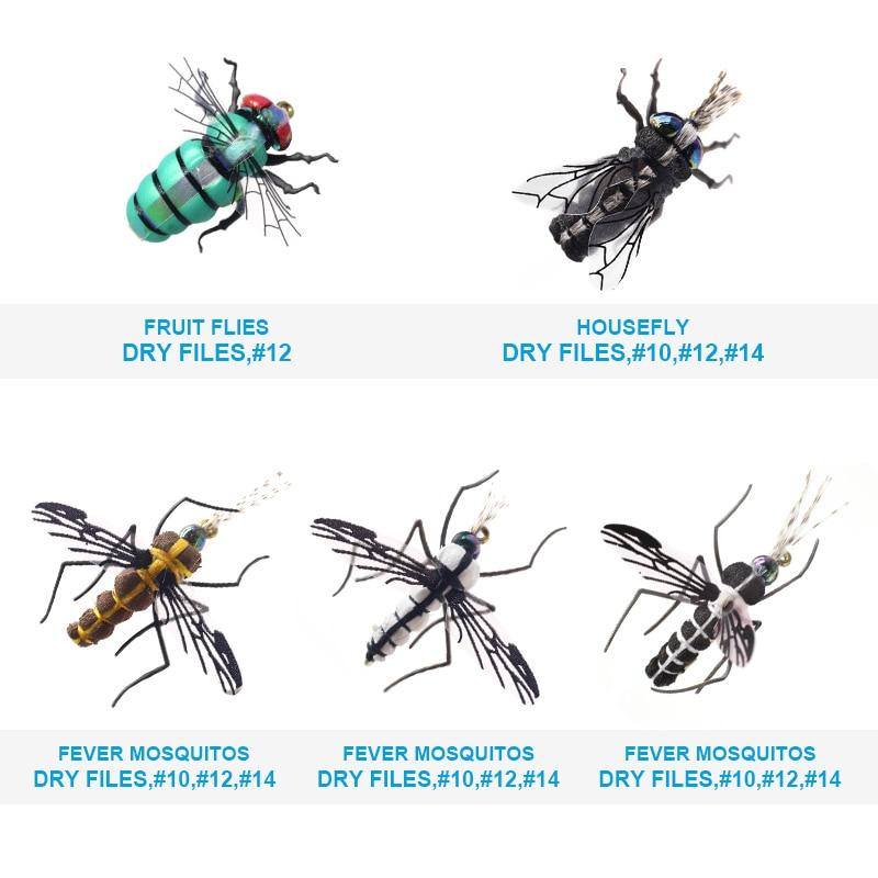 Image 4 - Реалистичные комаров дом рыболовные крючки мухи комплект 60 шт. приманки для насекомых для форель маски сухая муха приманка комплект летать-in Наживка from Спорт и развлечения