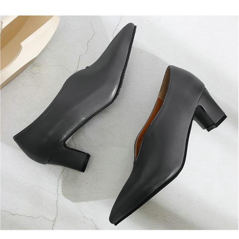 850500c7c Sexy Alto V Moda Bruto Boca Negras Único Salto Grande Calcanhar Feminino  Trabalho black Apontou Quintal grey Sapatos ...