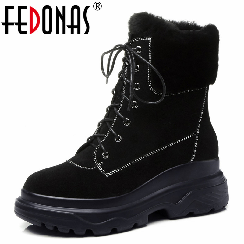 FEDONAS Brand Women Motorcycle Boots Warm Winter Snow Boots Round Toe Lace Up Sexy Martin Shoes Woman Platforms Basic Boots