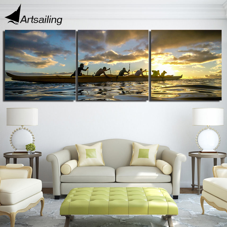 3 piece canvas art HD print team water sports kayak sunset painting paintings for living room wall free shipping UP-1832B