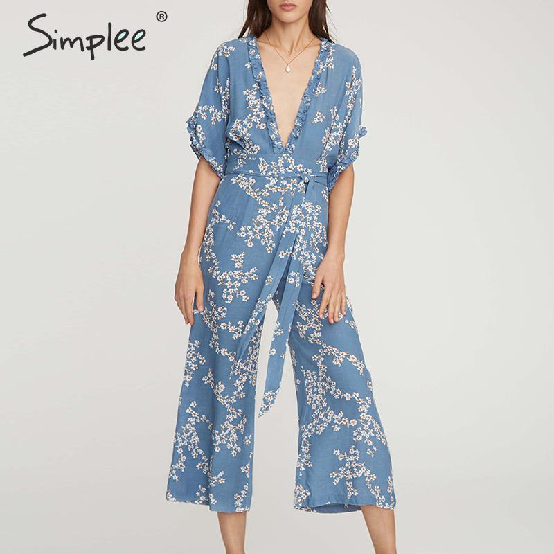 Simplee Bohemian floral print women   jumpsuit   Elegant v-neck ruffled sashes female   jumpsuit   romper Summer style beach overalls
