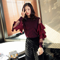 women sweaters and knitwear ruffles sleeve pullover basic shirts autumn spring crop tops fashion vintage mesh spliced Sweaters
