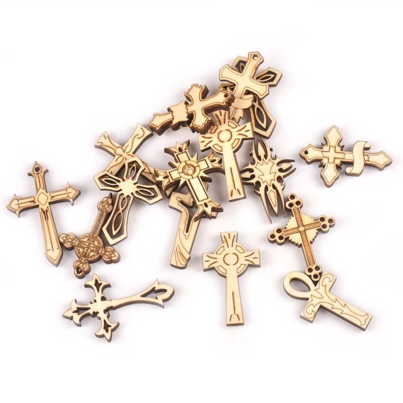 10 pçs nova mistura retro cruz fatias de madeira artesanato para diy enfeites feitos à mão scrapbook de madeira decoração para casa ornamento m2163
