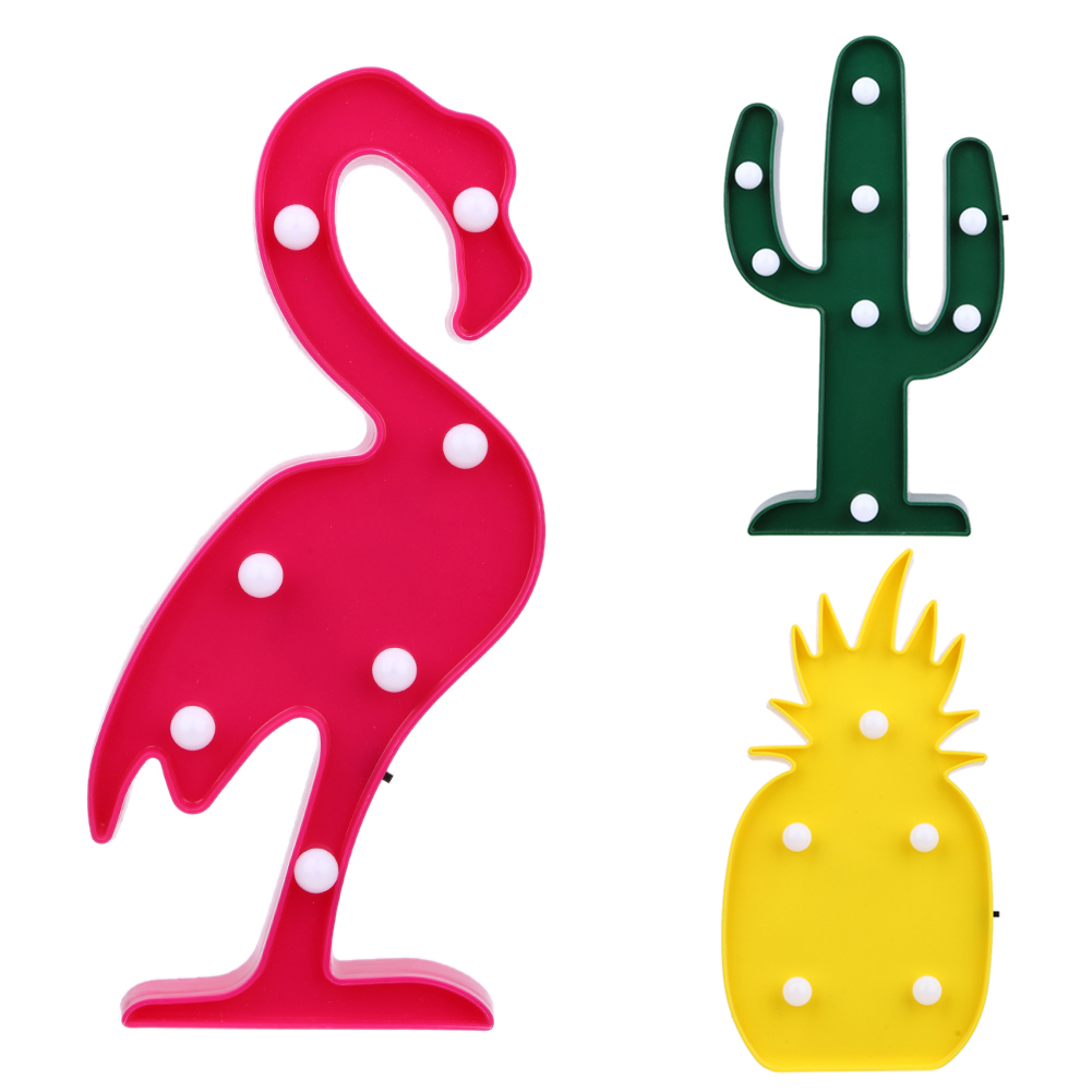 3D Flamingo Pineapple Cactus Night Lights LED Lamp Romantic Night Lamp Home Office Table Lamp Decoration Children Bedroom Light new pokemon go ralts 3d lamp usb cartoon night light led cool colorful home decorative table lamp children bedroom sleep lights