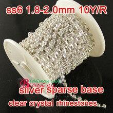 6ss 2mm rhinestones 10yards/roll sparse silver base clear glass rhinestones diy garment decorative cup chain