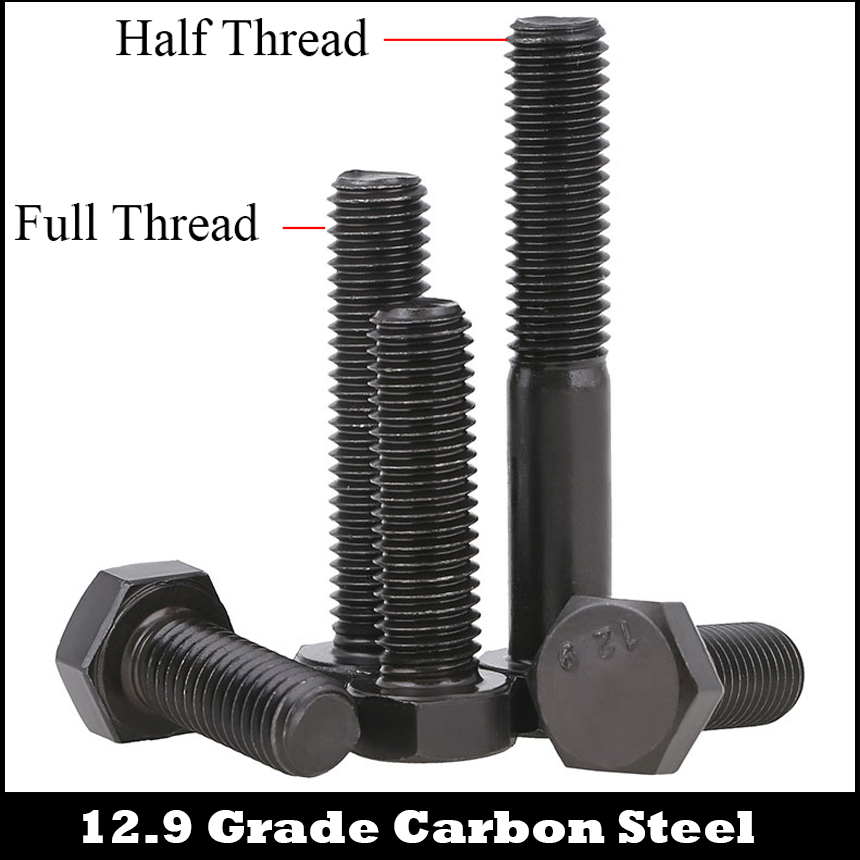 M6 M6*12/16/20/25/30 M6x12/16/20/25/30 12.9 Grade DIN933 Black Alloy Steel Full Thread Bolt External Hex Hexagon Head Screw 316 stainless steel flat top set screw bolt hex hexagonal socket head cap top thread for machine m6 5 6 8 10 12 16 20 25 30