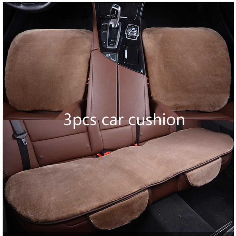 3pcs car seat covers set faux fur cute car interior accessories cushion styling winter. Black Bedroom Furniture Sets. Home Design Ideas