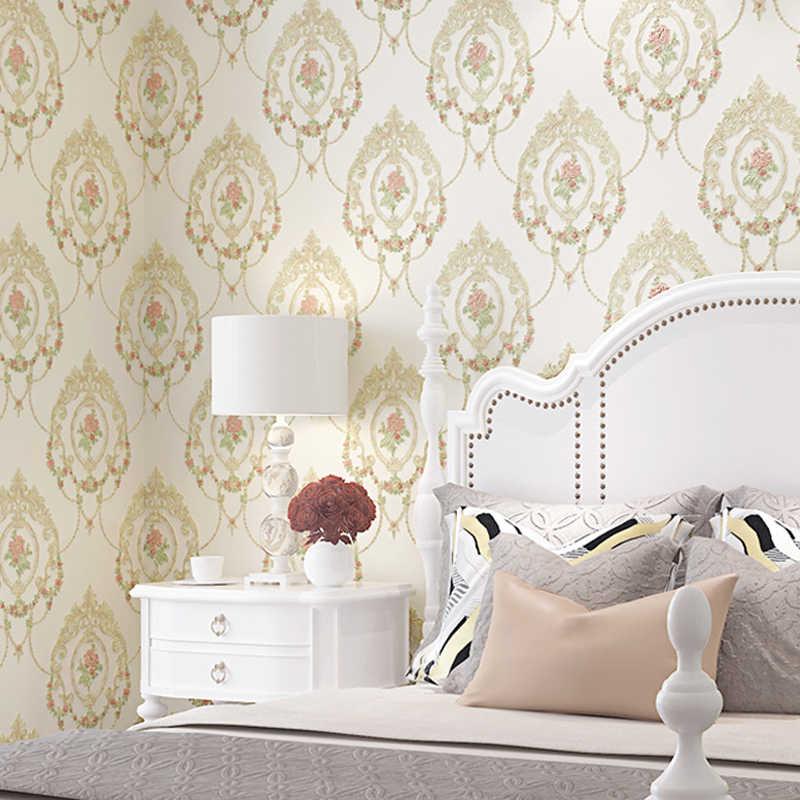 2019 Pastoral Mirror Flowers Wallpaper Stickers Sweet Wedding Room  Decoration Wall Papers Mural Girl Bedroom Wallpapers 3d ZP101