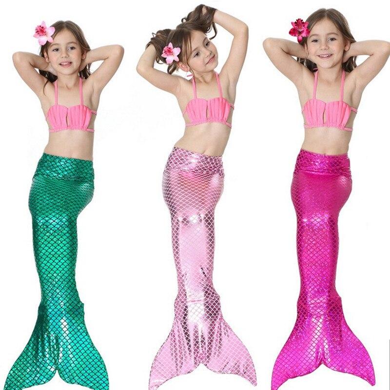 Bärenführer Mädchen Kleidung Sets 2018 Neue Sommer Mädchen Kleid kleine Meerjungfrau Schwanz Bikini Anzüge Schwimmen Kostüm 3 STÜCKE Für 3-12 jahre