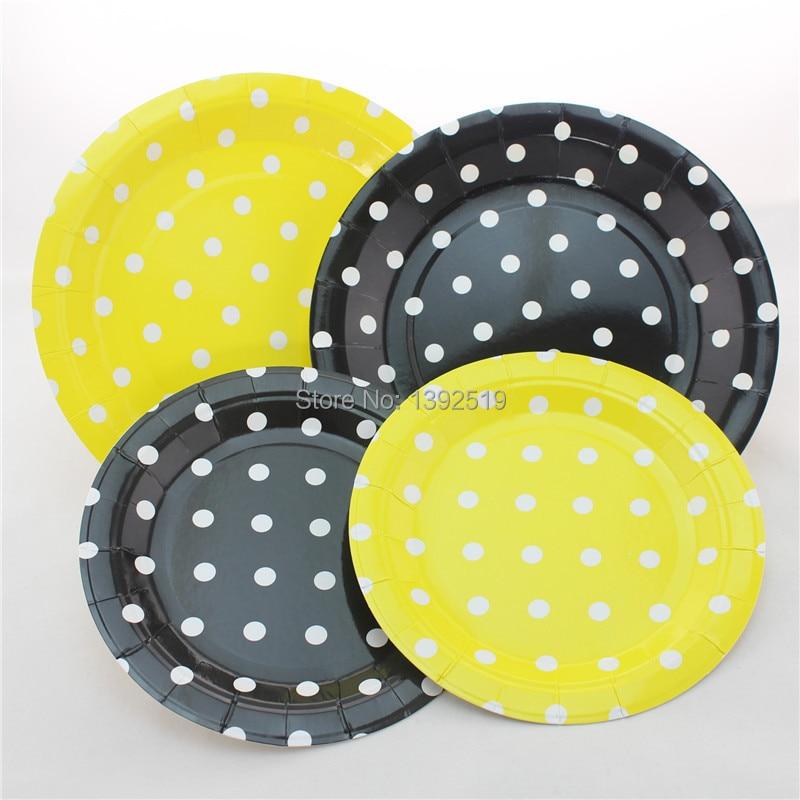 Free Shipping 48pcs Black White Polka Dot Paper Plates 7\  Birthday Party Cake Plates Party Dessert Paper Plates Snack Plates-in Disposable Party Tableware ... & Free Shipping 48pcs Black White Polka Dot Paper Plates 7\