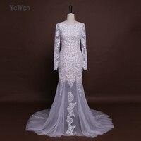 Luxus Backless Illusion Spitze Meerjungfrau Abendkleid 2017 Wunderschöne Long Sleeves Trompete Braut Kleid YeWen Robe De Mariage