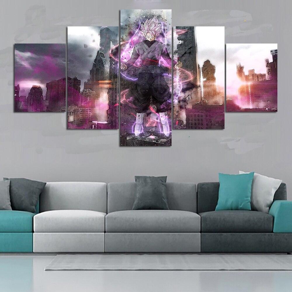 5 Piece HD Wall Art Dragon Ball Z Characters Super Saiyan3 Goku Posters for Living Room Decor 1