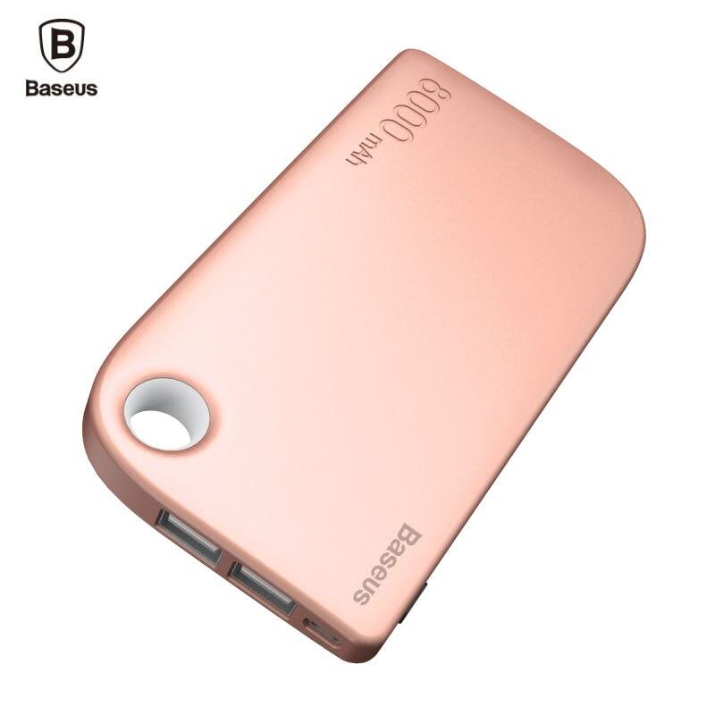 Цена за BASEUS Dual USB Мощность Bank 8000 мАч повербанк Портативный внешний Батарея Зарядное устройство для iPhone Xiaomi Мощность банк с 2 в 1 кабель