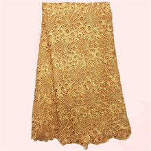 High class apparel material in gold guipure lace wedding chemical cord lace fabric for evening dress JWZ4-9(5yards/lot)