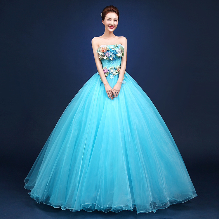 Designer Recommed PinkSky Blue Strapless Audition Dresses Stage Solo Show Floor Length Ball Gown
