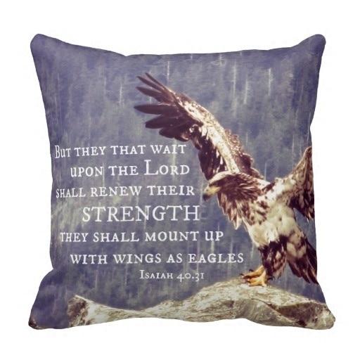 Cold Bible Verse <font><b>Renew</b></font> Strength <font><b>Wings</b></font> As Eagles Cushion Cover (Size: 45x45cm) Free Shipping