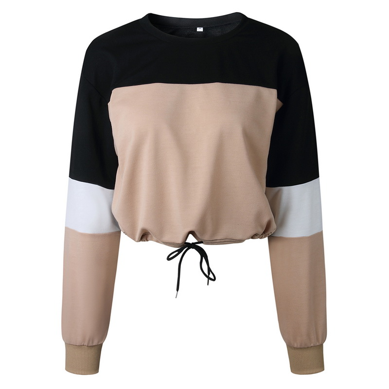 2019 Hoodies Long Sleeve Loose Crop Top Sweatshirt Casual Patchwork Neck Elastic Waist Pullovers Shirts Girls Streetwear(China)